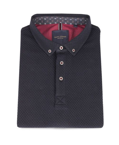 Guide London Pure Cotton Textured Jacquard SS Polo Navy