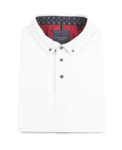 Guide London Pure Cotton Textured Jacquard SS Polo White