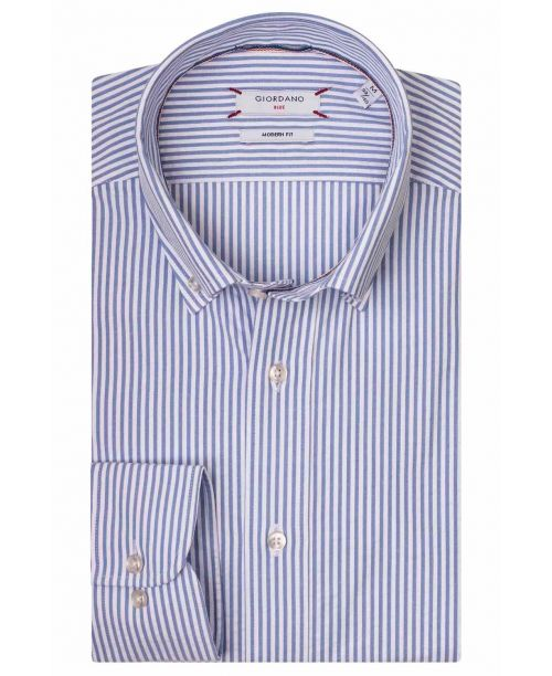 Giordano Torrino LS Button Down Light Blue Stripe