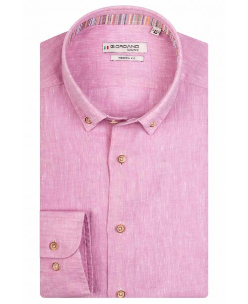 Giordano Torrino LS Button Down Linen Shirt Light Pink