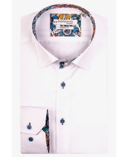 Giordano Brighton LS Button Under Floral Trim White