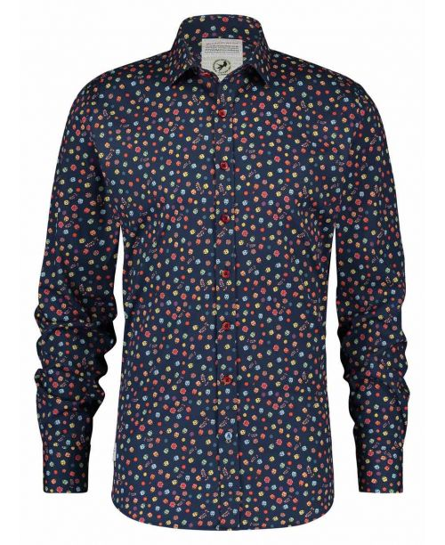 A Fish Named Fred Shirt Flower Mexican Skulls Navy