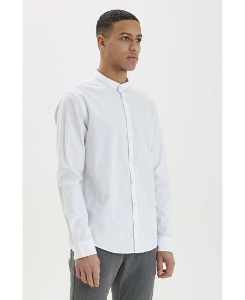 Casual Friday LS Collarless White Shirt