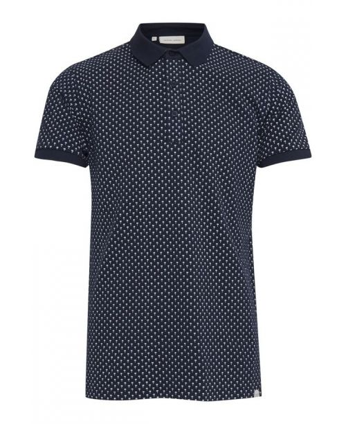 Casual Friday Palm Print Polo Shirt Navy