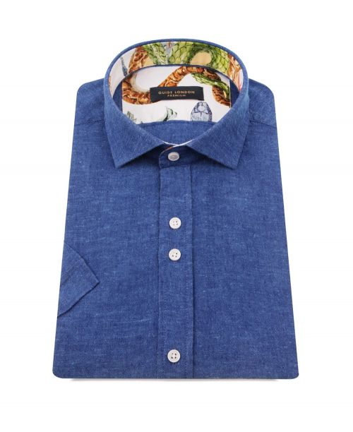 Guide London Linen/Cotton SS Shirt Denim