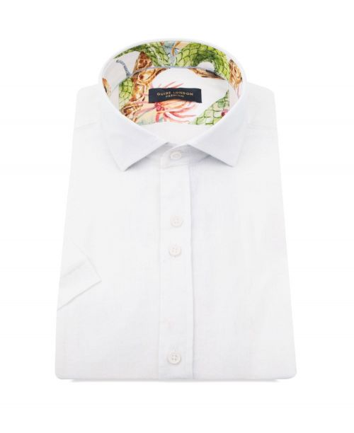 Guide London Linen/Cotton SS Shirt White