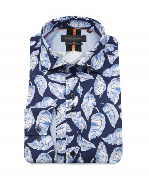 Guide London Leaf Print Shirt Sky/Navy