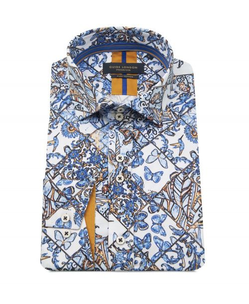 Guide London Floral/Butteryfly Print Shirt Blue