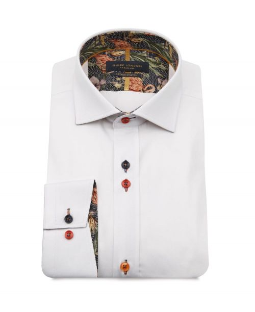 Guide London Flamingo Trim Shirt White